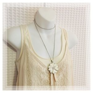 lia sophia rope style flower heart necklace.